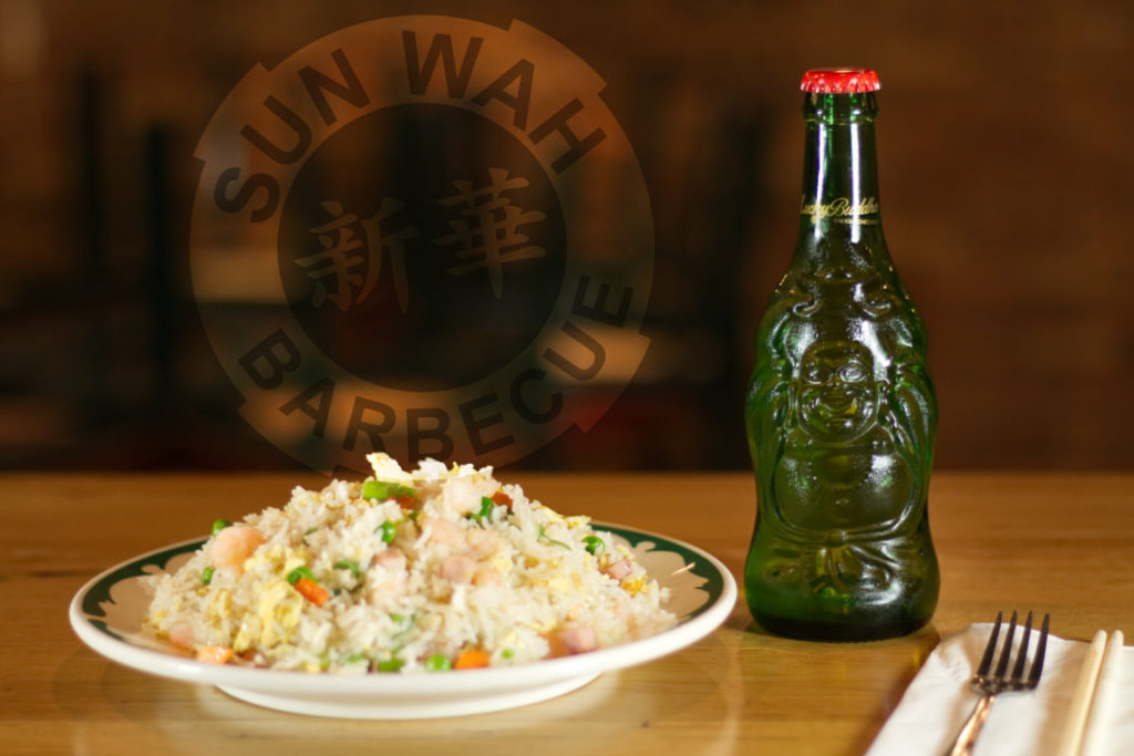 Lucky Buddha Beer with Yang Chow Fried Rice